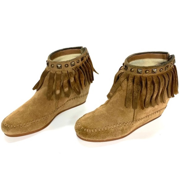 CROWN VINTAGE Fringed Ranchero Ankle Boots, 8